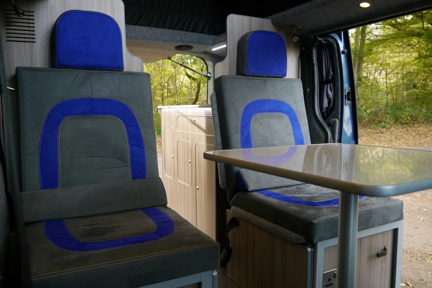 Blue Paradise Sussex Campervans for sale Rear seats Boyriven fabric.JPG
