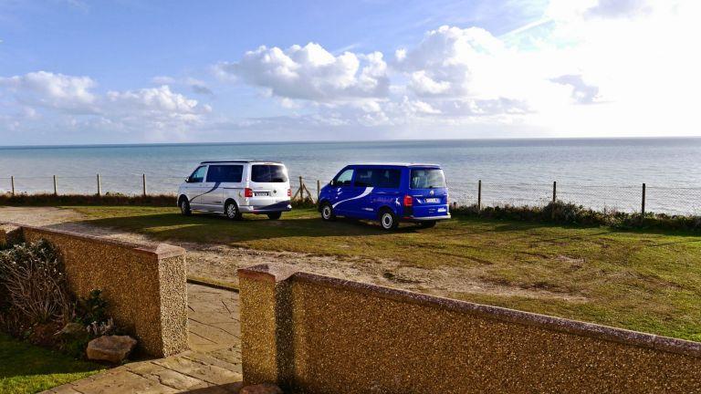 Volkswagen T6 VW Caledonia Sussex Campervans camping seaside silver camper blue camper.jpg